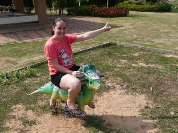 Riding a dinosaur in Khon Kaen