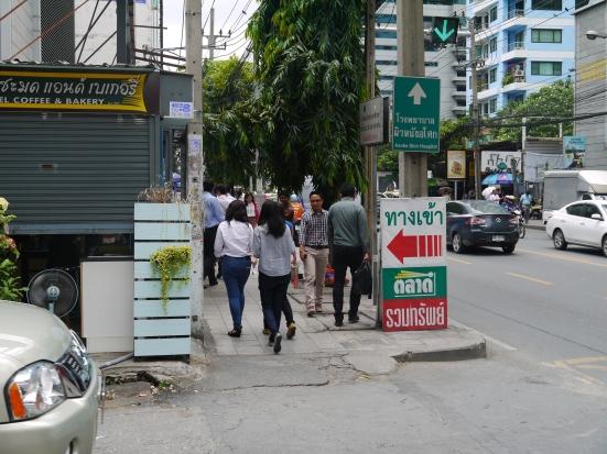 Turn left for the market entrance