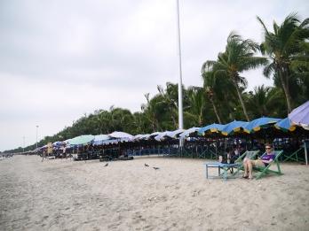 Bang Saen Beach deckchairs