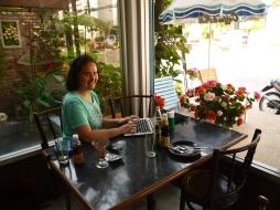 Working hard at Coffee & Milk - Free Wifi too.